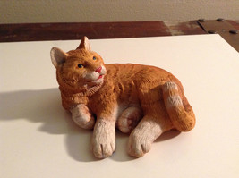 Orange Tabby Textured Cat Laying Down Figurine Display Piece - $35.59