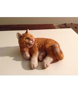 Orange Tabby Textured Cat Laying Down Figurine Display Piece - $35.59