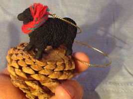 Black Sheep Ornament on Real Red Pine Cone with Real Fabric for Scarf on Neck image 4