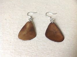 Brown with Black Outline Handmade Dyed Tagua Dangling Earrings