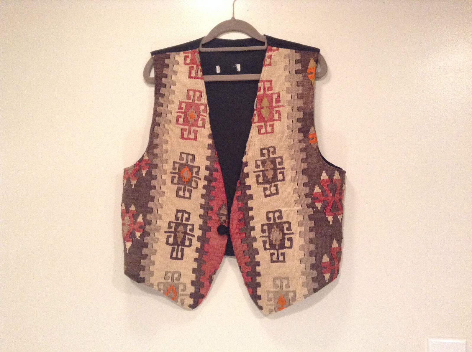 Brown with Abstract Pattern Tribal Vest Size XL 60 Percent Cotton 40% Wool