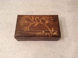Brown Wooden Trinket Box with Flower Design Small Rectangular Shape - $34.64