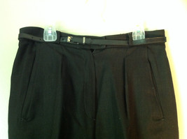 Black Size 10 Giorgio Sant Angelo Pleated Dress Pants with Black Belt image 2