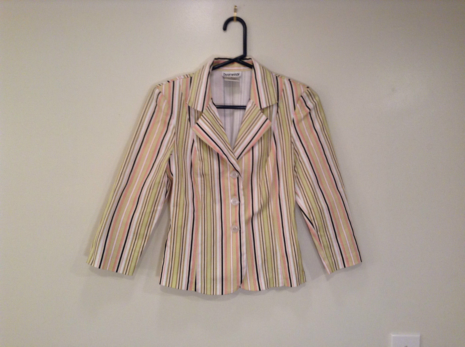 Byer wear Size M Green Light Green Black Red Beige Striped Light Blazer Jacket