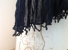 Black Scrunched Beaded Scarf Made in India Indian Style Beads for Tassels image 4