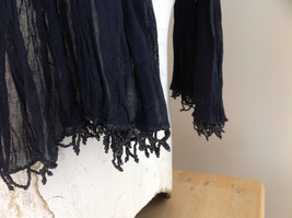 Black Scrunched Beaded Scarf Made in India Indian Style Beads for Tassels image 5