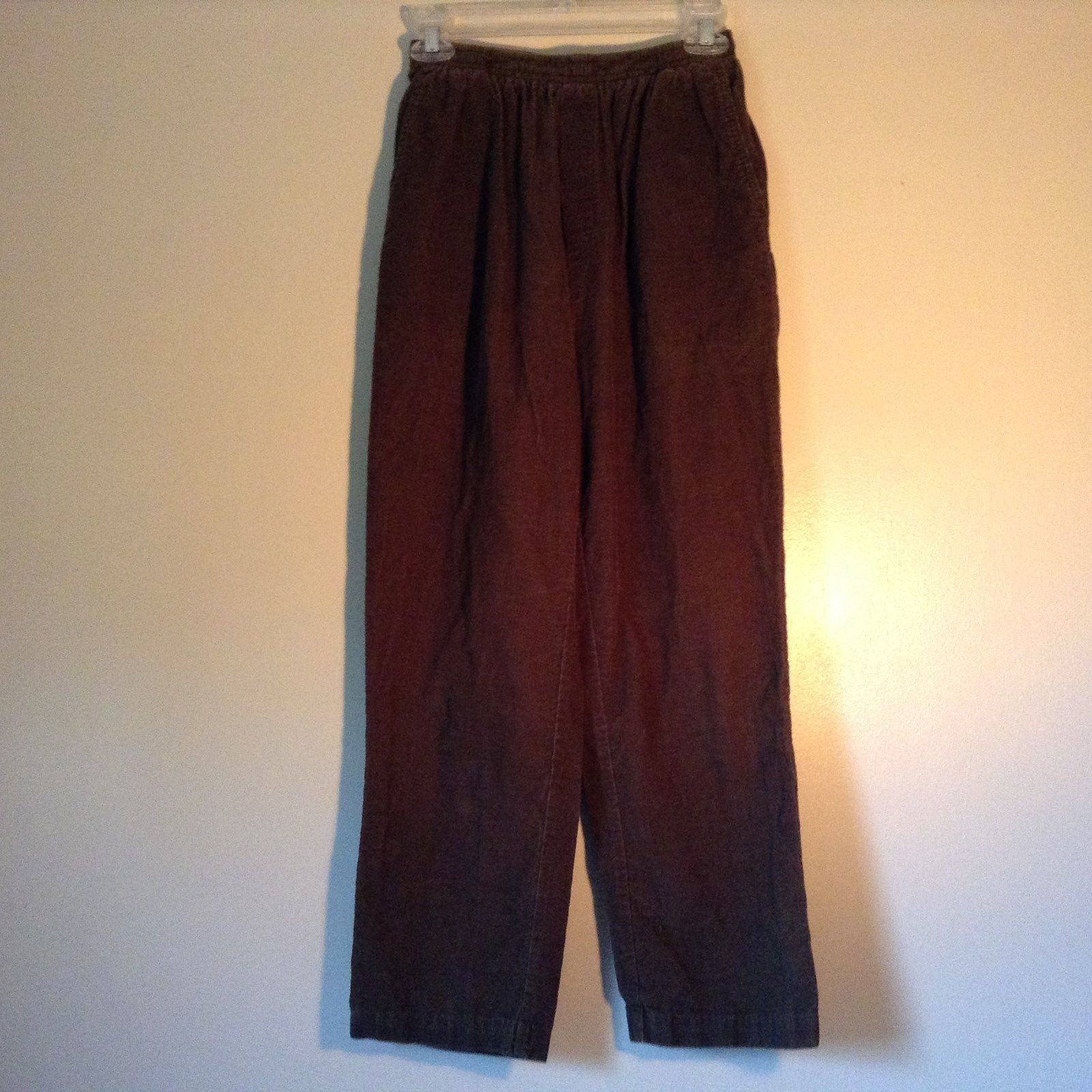 Cabin Creek Dark Green Pants 100 Percent Cotton Elastic Waistband Size 10