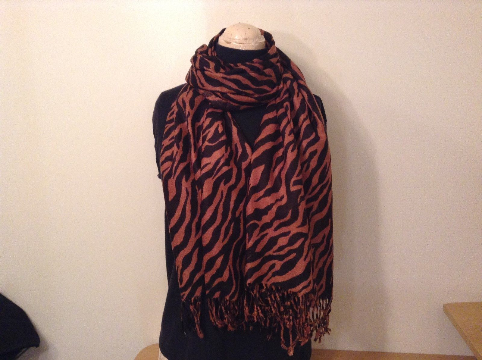 Brown and Black Zebra Print Scarf 100 Percent Acrylic