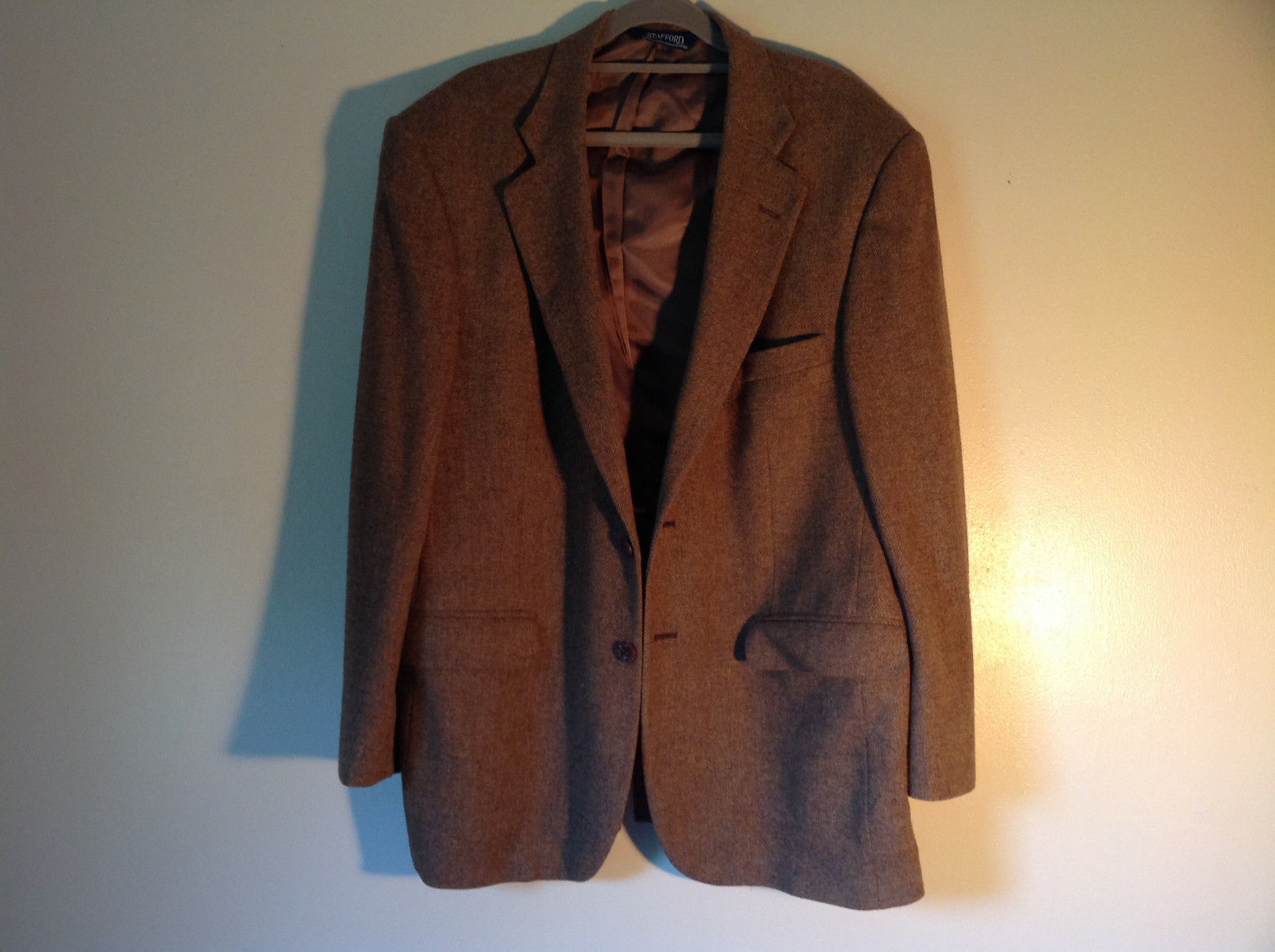 Brown Stafford Two Button Closure Wool Suit Jacket 2 Front Pockets