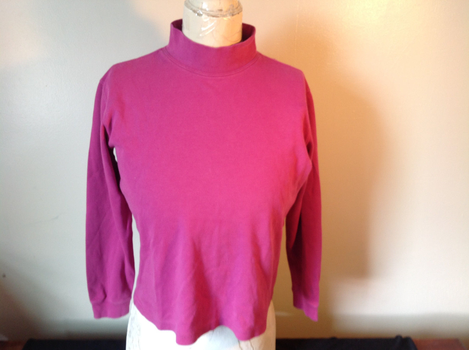Cabin Creek Pink Long Sleeve Turtleneck 100 Percent Cotton Size Small