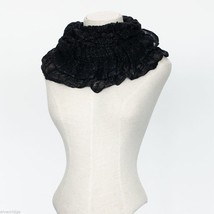 Black Soft Viscose infinity scarf with sparkly silver lurex thread image 2