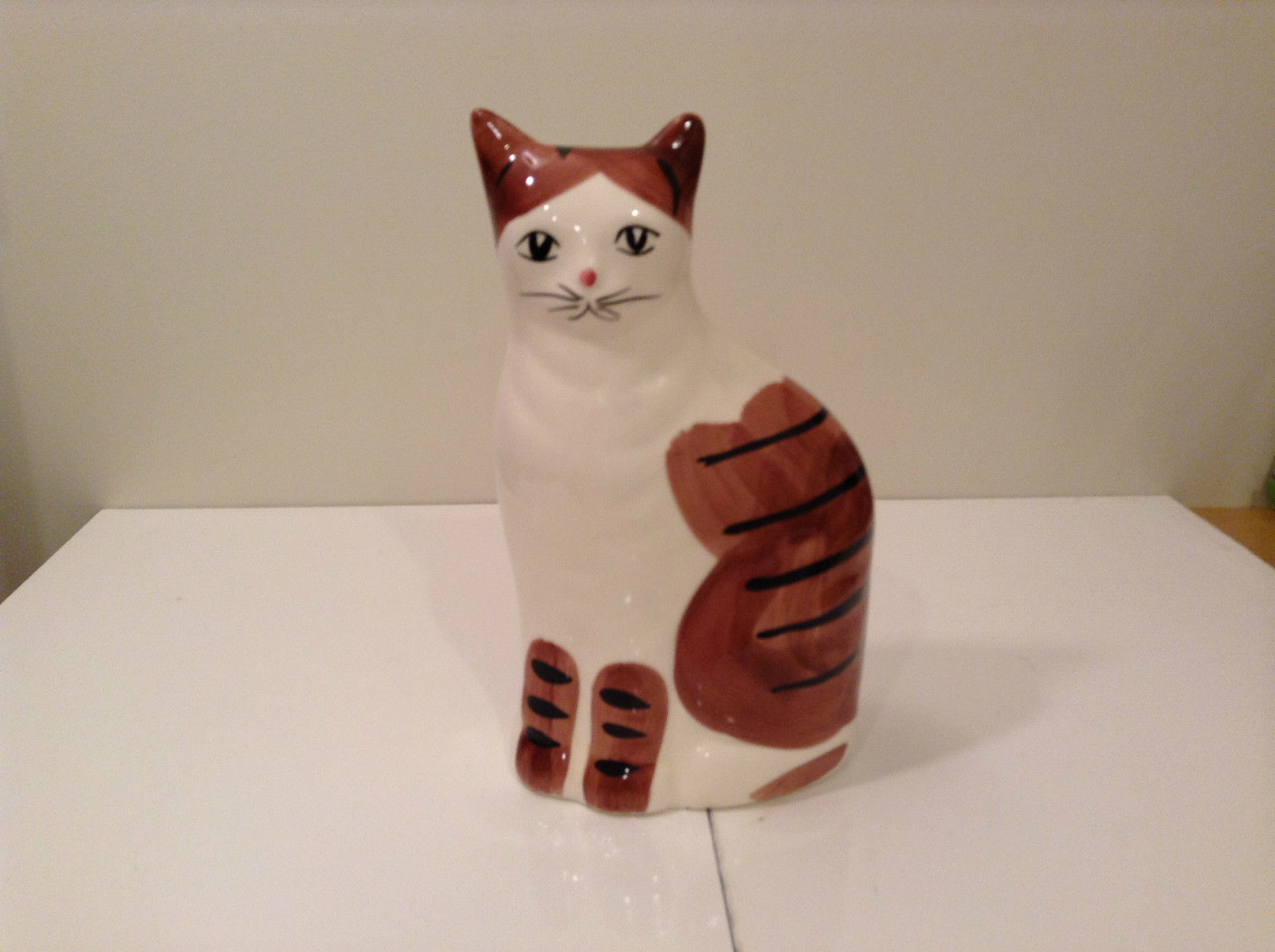 Brown and White with Black Stripes Cat Bank Eight and Half Inches Tall