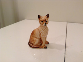 Brown and White Genuine Bone China Cat Figurine Three and Half Inches Tall