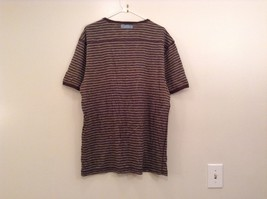 Brown Stripe Pattern Short Sleeve 100 Percent Cotton Bass Shirt Size XL
