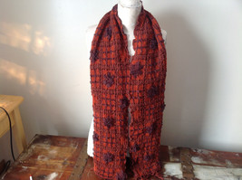 Brown and Orange Boho Scarf  Flowers and Geo Design See Measurements Below