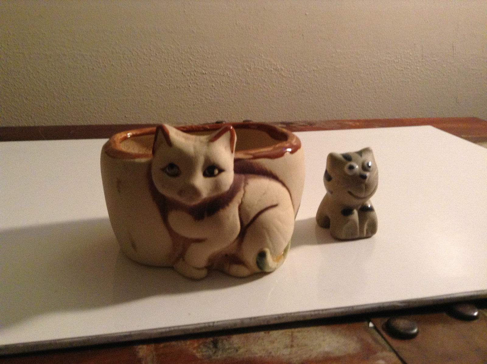 Brown and Tan Cat Planter with Mini Cat Figurine Two Piece Set