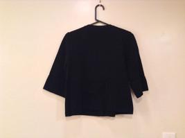Black Size Large 100 Percent Cotton Button Up Front Short Blazer Top by Evie image 2