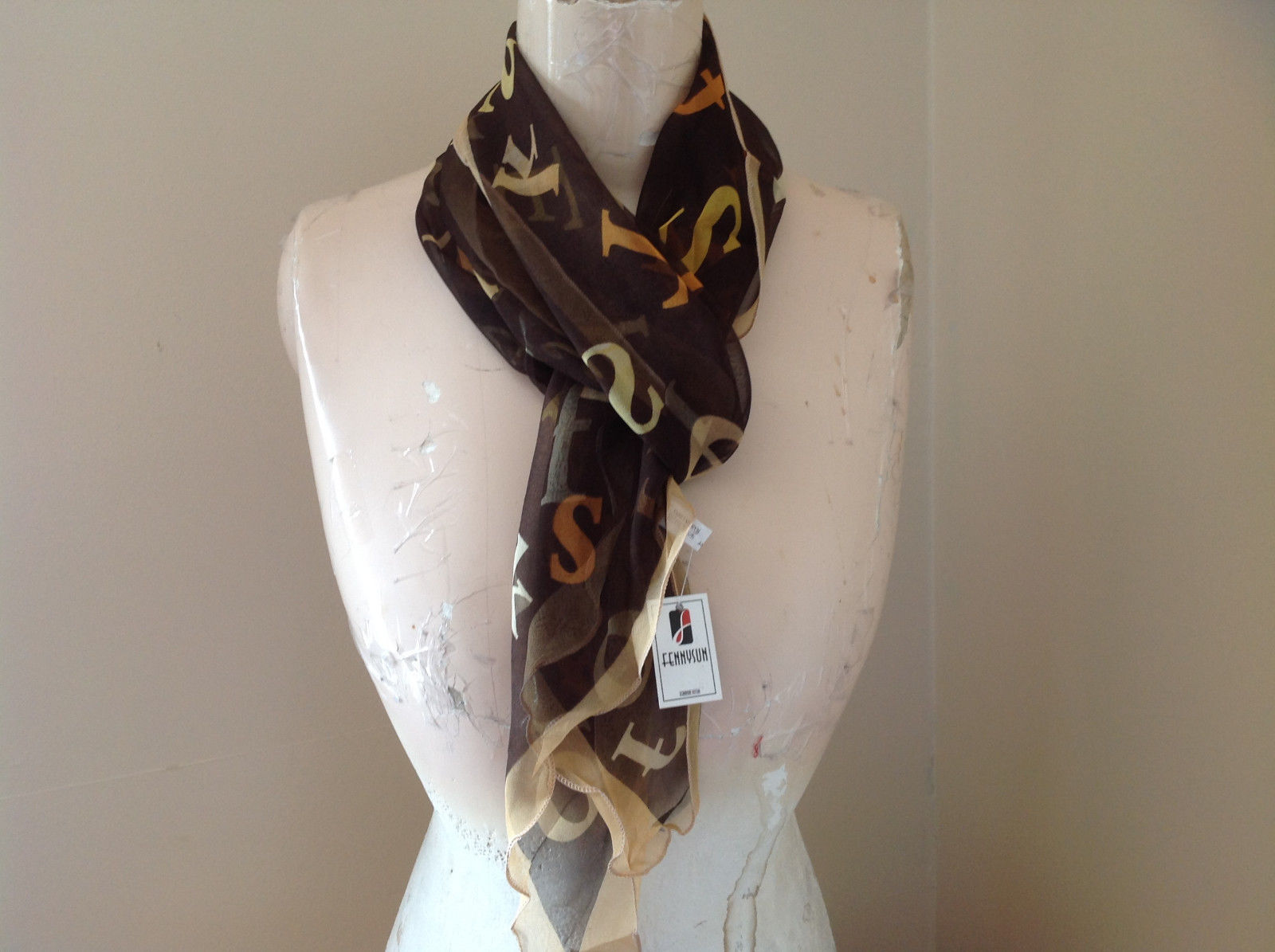 Brown Tan Orange Alphabet Fashion Scarf Light Weight Material Fennysum