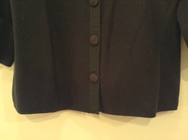 Black Size Large 100 Percent Cotton Button Up Front Short Blazer Top by Evie image 5