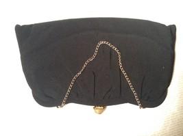 Black Smooth Handbag with Gold Tone Chain and Snake Like Clasp image 3