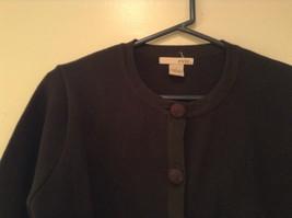 Black Size Large 100 Percent Cotton Button Up Front Short Blazer Top by Evie image 3