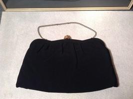 Black Smooth Handbag with Gold Tone Chain and Snake Like Clasp image 2