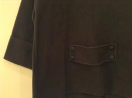 Black Size Large 100 Percent Cotton Button Up Front Short Blazer Top by Evie image 7