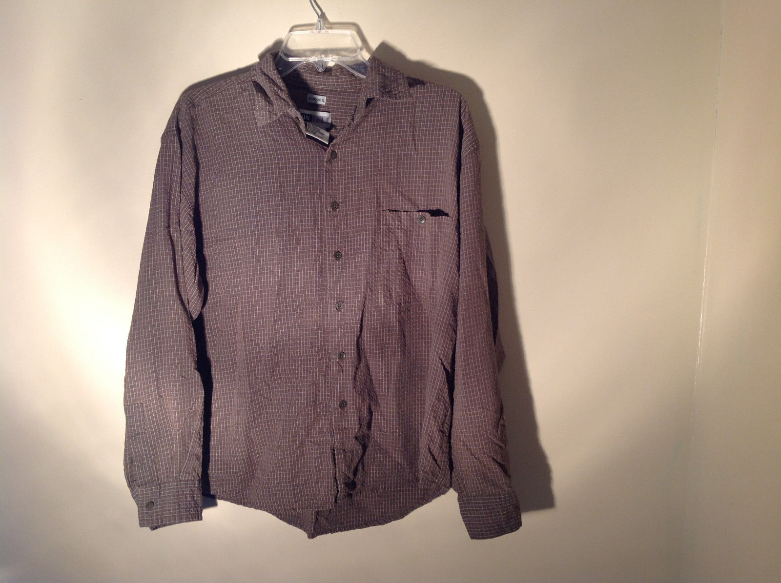 Brown Square Pattern Button Up Collar Long Sleeve Casual Shirt by United Size L