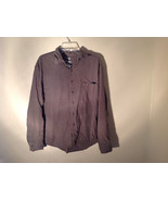 Brown Square Pattern Button Up Collar Long Sleeve Casual Shirt by United... - $39.59