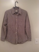 Brown and White Striped Old Navy Long Sleeve Button Up Cotton Shirt Size M image 1