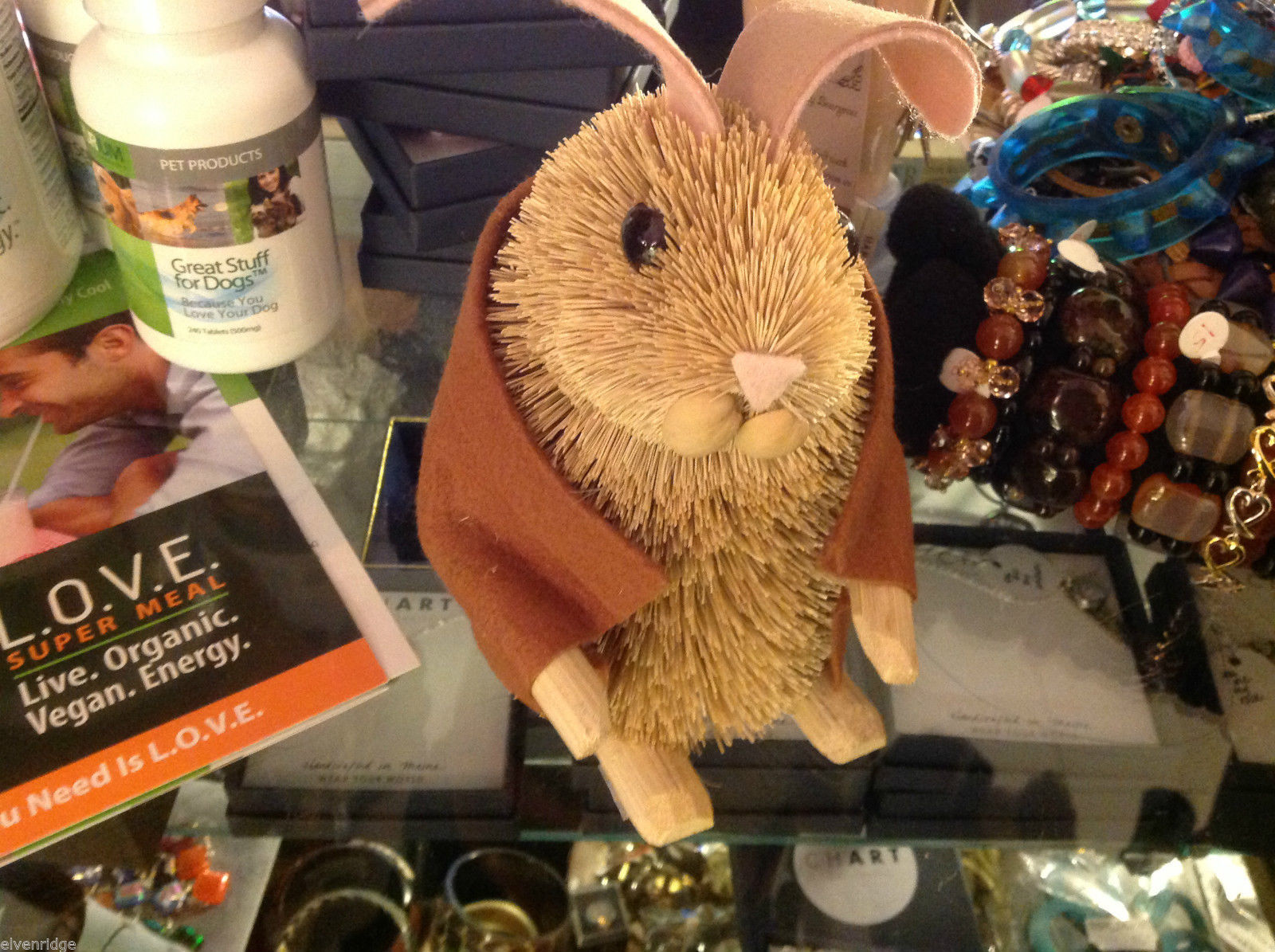 Brush animal bunny rabbit with tan felt jacket all natural sustainable materials