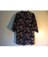 Bruno Size Large Button Up Short Sleeve Shirt 100 Percent Silk Floral On... - $44.54