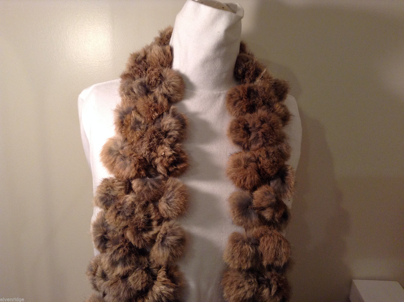 Brown - gray rabbit fur balls scarf very soft