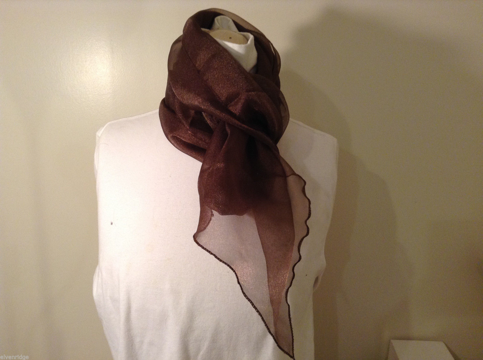 "Brown sheer gauze fabric long scarf or table runner or window decoration, 107""L"