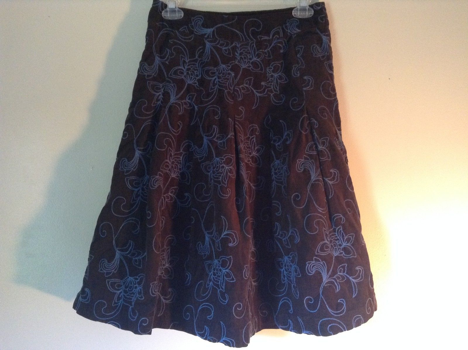 Brown with Blue Flowers Corduroy Skirt by Boden No Size Tag Measurements Below