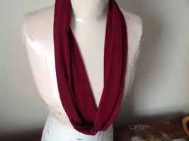 Burgundy Magic Slinky Infinity Ring Scarf with Spandex See Measurements Below
