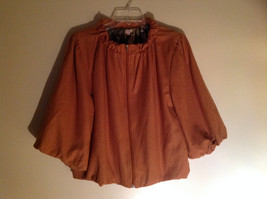 Burnt Orange Zip Up Puffy Three Quarter Length Sleeves Jacket by Echo Size M/L