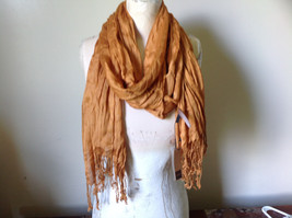 Burnt Orange Scrunched Style Silk Blend Scarf by Look Tags Attached Tasseled