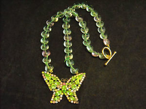 Butterfly Rhinestone Necklace Green and Pink