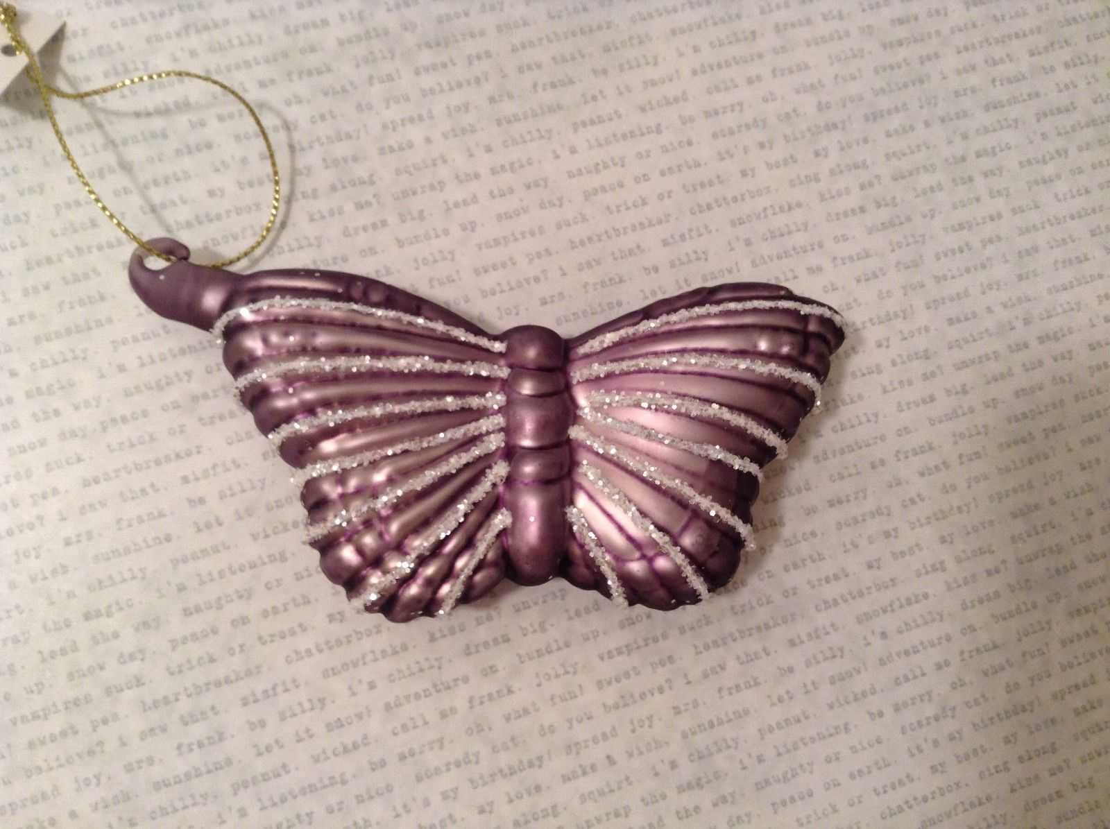 Butterfly Christmas holiday Glass Ornament dark purple lavender 4 Inch High
