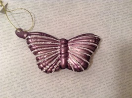 Butterfly Christmas holiday Glass Ornament dark purple lavender 4 Inch High - $18.32