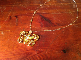 Butterfly Gold Tone Pendant Silver Tone Drain Crystals Adjustable Lobster Clasp