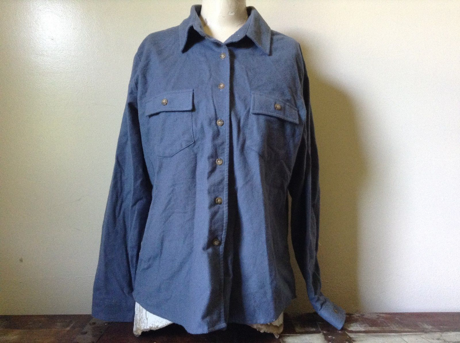 Button Down Blue 100 Percent Cotton L L Bean Long Sleeve Shirt Size L Regular