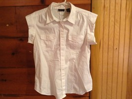 Button Down White Short Sleeve Shirt New York Company Collar Size Large