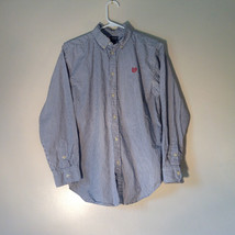 Button Down Long Sleeve Shirt with Collar Striped White and Gray Chaps Size XL