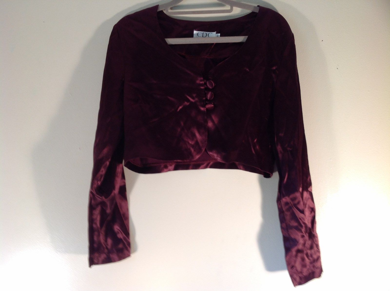 CDC Petites Burgundy Short Shiny Long Sleeve Blouse Size 8 Made in USA