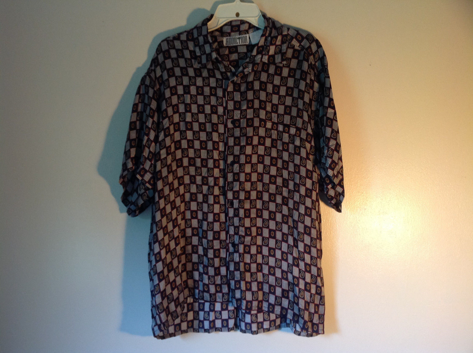 Button Up Black and White Checkers Silk Shirt by Addiction Size Medium 1 Pocket