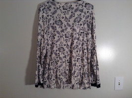 Black White Floral Print Long Sleeve Shirt Lace Trim Size 20 to 22/2X Adonna image 4