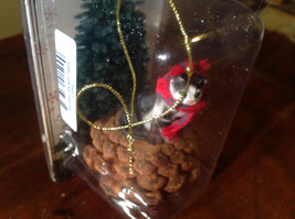 Black White Cat with Scarf Real Pine Cone Pet Pine Cone Christmas Ornament image 2