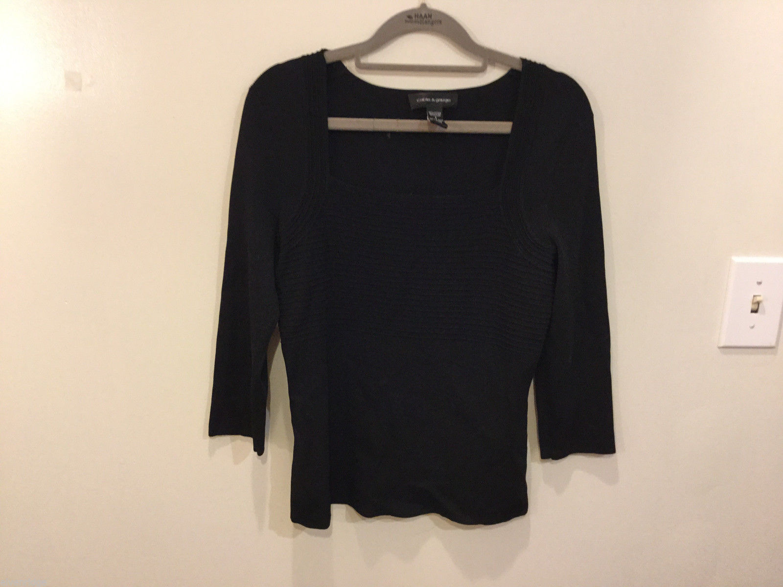 Cable & Gauge 3/4 sleeve Simple and Elegant Black Stretchy Blouse, Size S